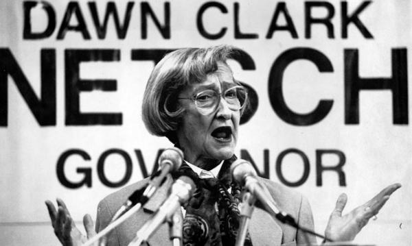 Dawn Clark Netsch, Democratic candidate for Illinois governor, announces her decision to run without a running mate in 1993.