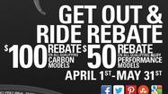 "<strong>Buy by May 31 and get $50 or $100 rebates on aluminum and carbon Raleigh bikes. Aluminum: </strong>Purchase a Raleigh Revenio/Capri, Cadent/Alysa, RX, Talus 29/Eva 29, Militis Comp/Elite or Misceo/Mesika alloy series bike from a participating retailer by May 31, 2013, and get a $50 prepaid card. <strong>Carbon: </strong>Purchase a Militis series, Revenio/Capri Carbon series, RXC series, or Talus 29 Carbon bike from a participating retailer by May 31, 2013, and get a $100 prepaid card. <a href=""http://www.raleighusa.com/2013-get-out-and-ride-rebate-program"" target=""_blank"">Click here for the rebate forms</a>. In Central Florida, you can find Raleigh bikes at <a href=""http://orangecycleorlando.com/about/spring-sale-bike-prices-2013-april-6-20-pg775.htm"" target=""_blank"">ORANGE CYCLE</a> in Orlando, <a href=""http://www.nolimitcycles.com/"" target=""_blank"">NO LIMIT CYCLES</a> in Longwood, <a href=""http://spincityapopka.com/"" target=""_blank"">SPIN CITY CYCLES</a> in Apopka, <a href=""http://www.bikeone.net/"" target=""_blank"">BIKE ONE</a> of Port Orange and <a href=""http://wildwoodcyclery.com/"" target=""_blank"">WILDWOOD CYCLERY</a>. You presumably could combine these rebates with <a href=""http://orangecycleorlando.com/about/spring-sale-bike-prices-2013-april-6-20-pg775.htm"" target=""_blank"">the sale going on through April 20 at Orange Cycle,</a> which would, for example, bring Orange Cycle's $449 Talus 29 aluminum down to $399 after $50 rebate."