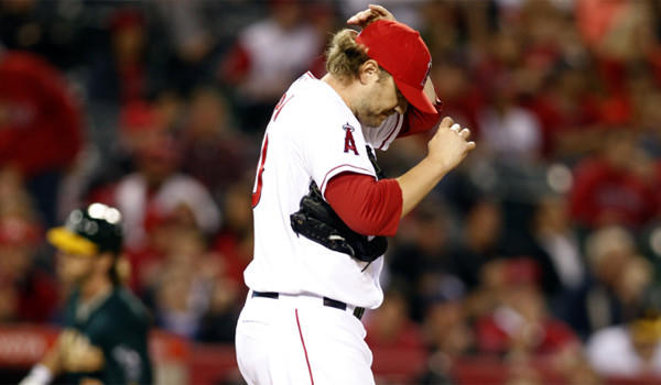 Angels pitcher Kevin Jepsen, shown after giving up a home run Tuesday against Oakland, went on the disabled list this week due to a triceps strain that has troubled him since spring training.