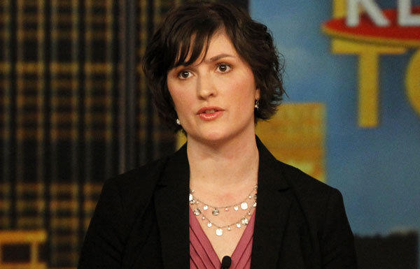 "Sandra Fluke speaks during an appearance on the daytime talk show ""The View"" last year."