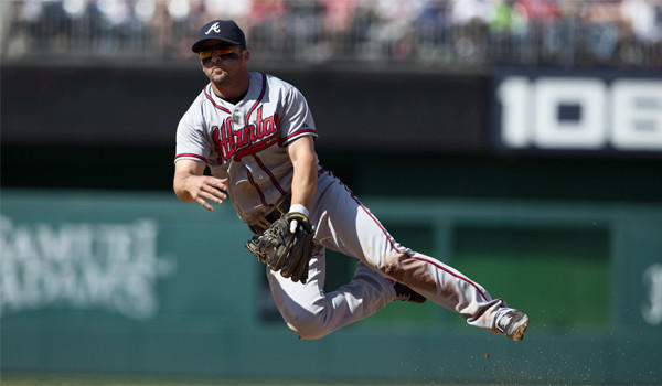 Atlanta infielder Dan Uggla follows through on a throw to first base against Washington on Saturday.