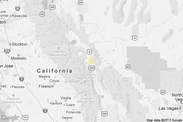 A map showing the location of the epicenter of Sunday morning's quake near Bishop.
