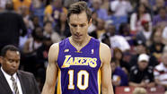 <>Everybody ready for the Lakers' starting backcourt of Steve Blake and Jodie Meeks? Which means Steve Nash will not play Sunday against San Antonio.