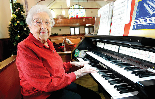 "Catherine ""Katie"" Stevens, 99, is the organist at Washington Square United Methodist Church in Hagerstown."