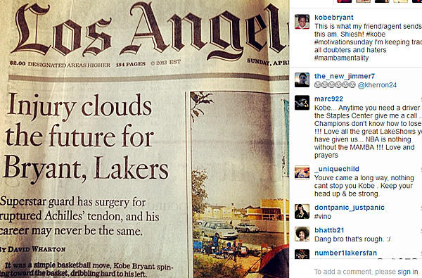 The Instagram photo sent to Kobe Bryant by his agent Sunday morning.