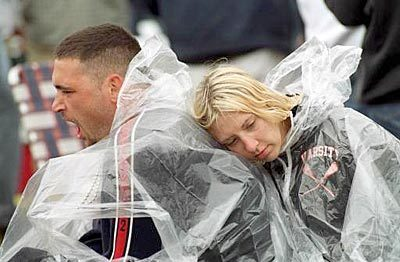 127th Preakness Stakes - Prepared for the rain wrapped in plastic