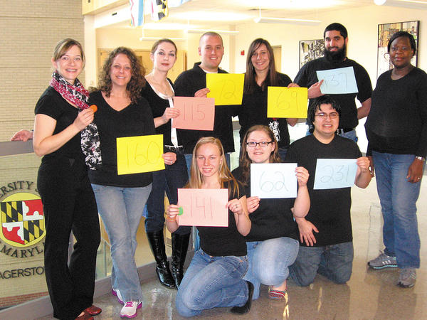These Towson University nursing students at the University System of Maryland at Hagerstown are participating in a fundraiser walk to provide health care to children in Africa. Front row, from left, Kat Robbins, Brittany Propst and David Rico. Back row, instructor Mindy Haluska, Laura Kroll, Emily Heckman, Bryce Smetzer, Brittany Bowman, Mustafa Azimi and Alimatu Sangari-Sammarie.