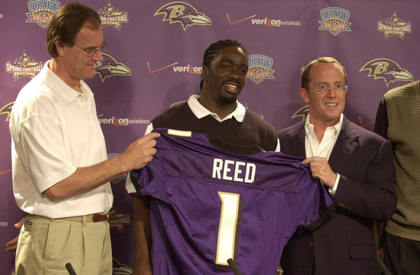 Ravens first-round draft pick Ed Reed is introduced by coach Brian Billick, left, and team president David Modell.