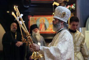 Bishop Matthias, the leader of the Chicago diocese of the Orthodox Church in America, at a recent service.