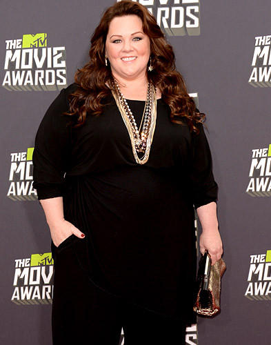 Actress and comedian Melissa McCarthy arrives at the 2013 MTV Movie Awards at Sony Pictures Studios in Culver City.