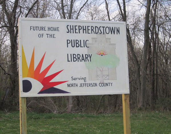 This sign was placed near the site of the proposed new library off W.Va. 480 in Shepherdstown, W.Va.