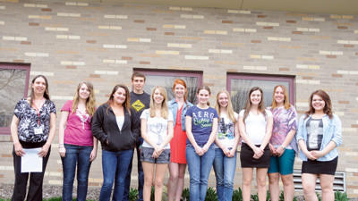 These Rockwood students are raising money to take an exchange trip to France. From left are: French teacher Farrah Thompson, Tessa Keller, Brooke Fetters, Jacob Bower, Kayla Rugg, Becky Zur, Julia Waltermire, Cheyenne Ware, Olivia Latuch, Sarah Foy and Alex Mitchell. Not pictured are Matt Zerfoss and Stephanie Percinsky.