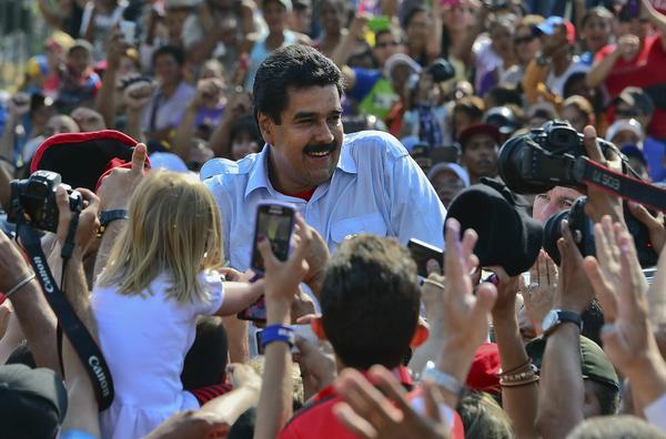 Venezuelan interim President Nicolas Maduro in Caracas on election day.