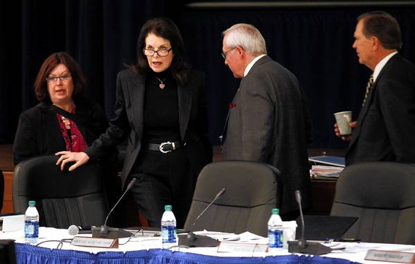 UC Board Chairwoman Sherry Lansing, second from left, will lead the search for the new system president. Mark Yudof, the current president, is retiring in August.