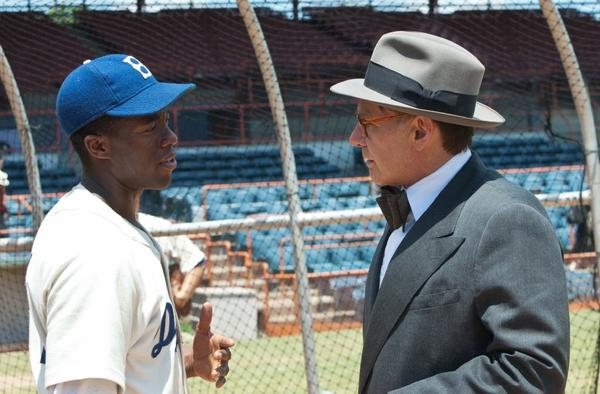 "Chadwick Boseman and Harrison Ford in ""42."""