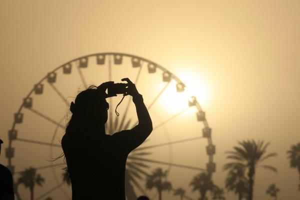 The sun sets at Coachella.
