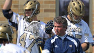 The No. 6 Notre Dame men's lacrosse team overcame a slow start at home to defeat Big East rival Georgetown, 10-8, on Sunday afternoon. Senior attackman Sean Rogers paced the Fighting Irish offense with two goals and two assists.