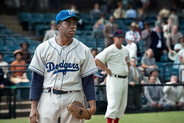 "Chadwick Boseman plays Jackie Robinson in the movie ""42."""