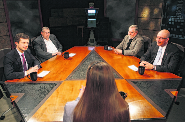 "Elizabeth Bennion (center) hosts South Bend Mayor Pete Buttigieg (left), Elkhart Mayor Dick Moore, Goshen Mayor Allan Kauffman and Mishawaka Mayor Dave Wood (right) during ""Politically Speaking"" on WNIT on Sunday. The four Michiana mayors fielded questions from viewers and talked about the region's challenges and opportunities."