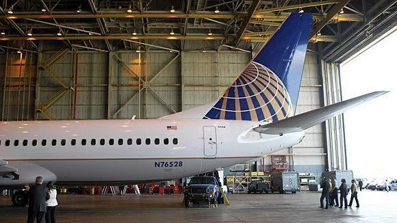 A United Boeing 737-800 aircraft inside the heavy maintenance hangar at O'Hare.
