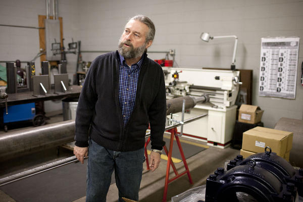 Michael Vance, founder and president of Phoenix Drum Dryer, talks about an industrial-drying machine the company is building in its South Bend workshop.