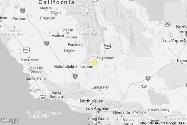 A map shows the approximate epicenter of Monday morning's quake near Bodfish, Calif., outside Bakersfield.