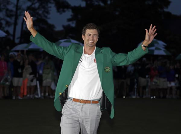Adam Scott enjoys the moment after becoming the first Australian to win the Masters tournament.