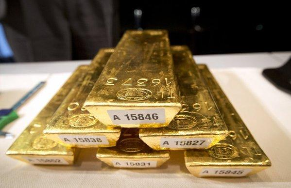 The price of an ounce of gold was down 7% to as low as $1,398 an ounce Monday, after falling 5% on Friday.