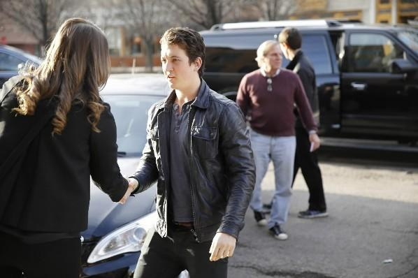 """Miles Teller and his """"Divergent"""" co-stars arrive for dinner at the Girl & the Goat April 14, 2013."""
