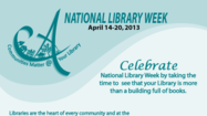 It's National Library Week, April 14-20, 2013! Celebrate National Library Week by taking the time to see that your Library is so much more than a building full of books. The Algonquin Area Public Library District is a place to discover new and exciting information through books, DVDs and Blu-rays, electronic resources, but much much more! It is a place to connect with the community.