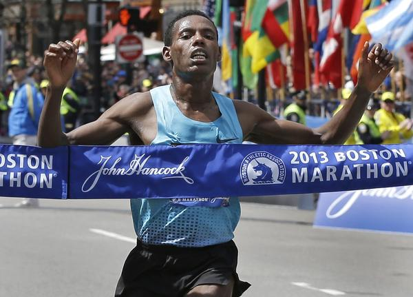 Second-time marathon runner Lelisa Desisa was the first to cross the finish line at the 117th Boston Marathon.