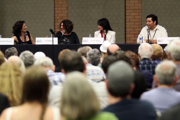 A full audience at the 2012 Festival of Books listens to, from left, authors Dani Klein Modisett, Jill Soloway, Merrill Markoe and Tod Goldberg.