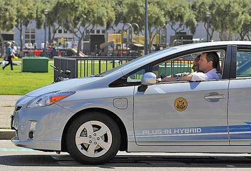 Toyota says it will have plug-in versions of the Prius hybrid on sale in 2012. This is a test vehicle with San Francisco mayor Gavin Newsom behind the wheel.