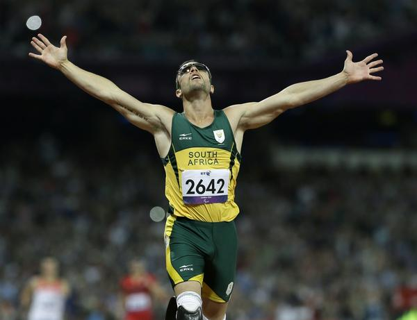Oscar Pistorius, shown winning the men's 400-meter T44 final at the 2012 Paralympics in London, is awaiting trial for the alleged murder of girlfriend Reeza Steenkamp.
