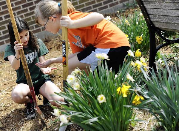 Riderwood Elementary School fourth-graders Grace Parcover, left, 10, and Leah Wedgeworth, 10, look at a critter they found while helping to spruce up the school yard on April 14, as part of the school's efforts to become a Green school.