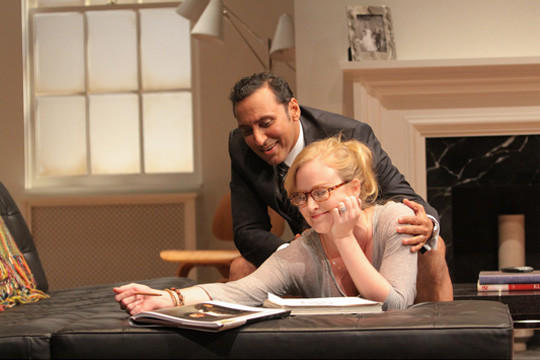 "A scene from ""Disgraced,"" with Aasif Mandvi and Heidi Armbruster, produced by Lincoln Center Theater in 2012."