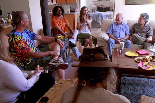 Betsy Trapasso, third from right, who describes herself as an end-of-life guide, holds the first Death Cafe in L.A. at her home in Topanga Canyon.