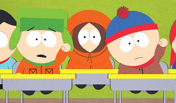 "Kyle Broflovski, left, Kenny McCormick and Stan Marsh on ""South Park."""