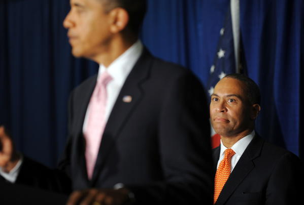 President Barack Obama speaks at a fundraising rally for Massachusetts Governor Deval Patrick (R) at the Westin in Copley Place in Boston in 2009.
