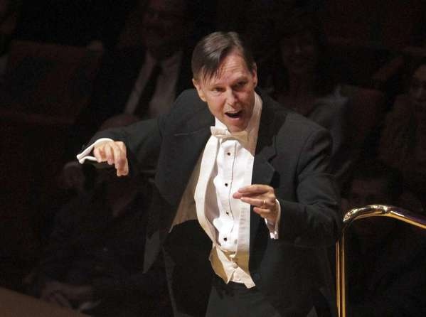 Grant Gershon, shown here conducting the Los Angeles Master Chorale in October 2012, led the chorale in a rare Vaughan Williams program this weekend.