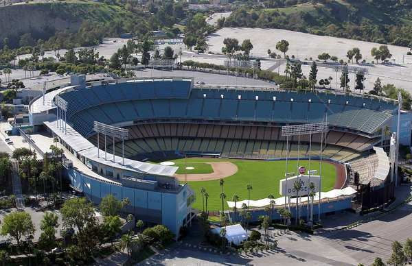 Aerial photograph of Dodger Stadium in 2011.