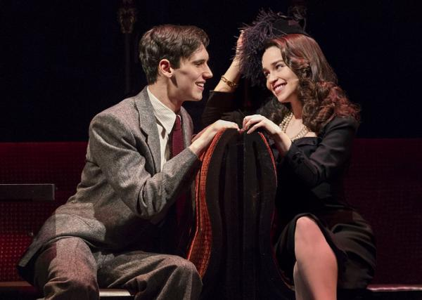 "Cory Michael Smith and Emilia Clarke in a scene from ""Breakfast at Tiffany's,"" performing at the Cort Theatre in New York."
