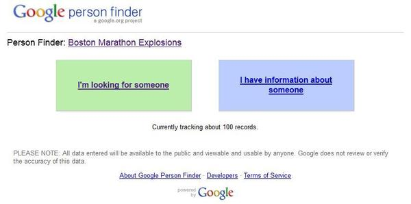 Users can turn to Google Person Finder online to connect with their loved ones in Boston.