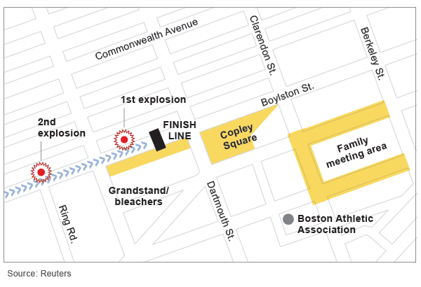 A map shows the locations of the two explosions at the finish line of the Boston Marathon.