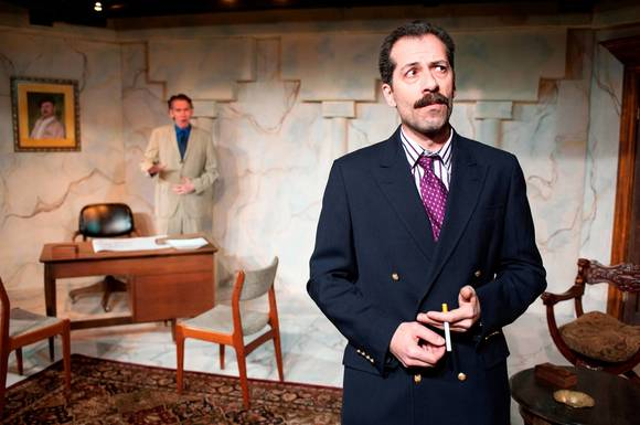 "Larry Grimm and Rom Barkhordar in ""In a Garden"" at A Red Orchid Theatre."