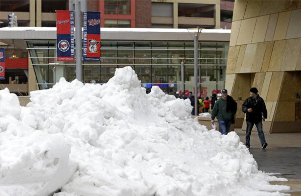 There are still snow drifts around the city, and Monday's forecast calls for temperatures of 39 degrees.