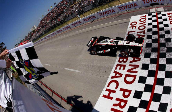 The Toyota Grand Prix of Long Beach is tightening security for this weekend's event. Pictured: Will Power, last year's winner, takes the checkered flag.