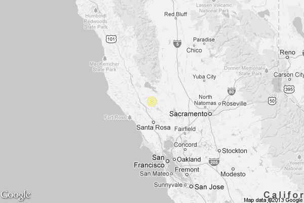 A map showing the location of the epicenter of Monday afternoon's quake near Cobb, Calif.