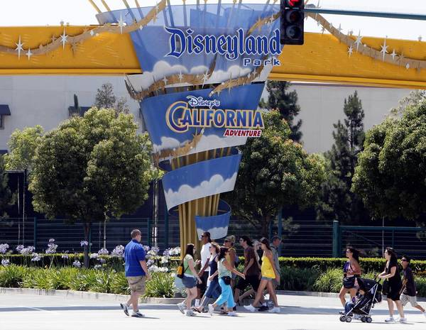 Disney officials said they voluntarily closed Disneyland's Space Mountain and Soarin' Over California at Disney California Adventure Park in Anaheim over the weekend while they review their safety procedures. Above, the front gate of the parks in 2008.