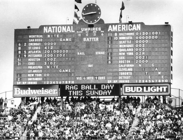 The scoreboard at Wrigley Field including Budweiser ads in the 1980s.